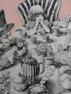 a really detailed illustration of the the party in alice in wonderland. the piece uses great concept and immaculate detail for a really realistic approach to a fantasy based basednovel. Lewis Carroll, Art And Illustration, Alice In Wonderland Illustrations, Foto Poster, Adventures In Wonderland, Through The Looking Glass, Art Inspo, Fantasy Art, Fairy Tales