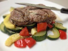 New York Strip Steak Over Squash, Zucchini, and Peppers: 2/20/13