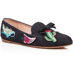 kate spade new york Saville Embroidered Denim Loafers (13.710 RUB) ❤ liked on Polyvore featuring shoes, loafers, indigo, denim footwear, kate spade, loafer shoes, loafers moccasins and indigo shoes