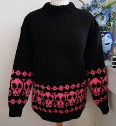 902f4ad06bfc Hand Knitted chunky round Goth jumper sweater with Pink skulls by  Bexknitwear