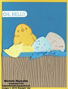 handmade greeting card ... Easter chick and eggs ... luv how she used the grunge dots to speckle the eggs ... Stampin' Up!