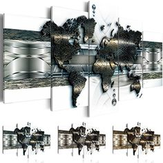 Bilder 200x100 cm - 3 Farben zur Auswahl - XXL Format - Fertig Aufgespannt - TOP - Vlies Leinwand - 5 Teilig - Wand Bild - Kunstdrucke - Wandbild - Weltkarte