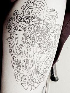 Art nouveau tattoo. I'd color it in, though.