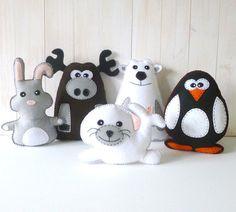 Arctic Stuffed Animal Hand Sewing PATTERNS // Plush Felt Polar Bear Rabbit Moose Penguin Seal // Easy