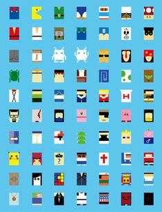 Personnages de jeux vidéos minimalistes personnages jeu video minimaliste geek design bonus