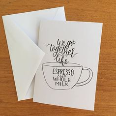 I kinda just made this for my coffee snob boyfriend, but maybe there are more girlfriends of coffee snobs out there! 😉  The perfect card for haters of almond milk.  Etsy.com/shop/lyssarts #lyssarts_etsy Coffee Snobs, My Coffee, Best Brush Pens, Boyfriend, Letters, My Favorite Things, Cards, Almond Milk, Girlfriends