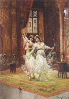 Harem dancers Stephan Sedlacek   (Austrian, 1868–1936) Oil on Canvas. Sedlacek was a history and genre painter, depicting aristocratic people in courtly environments as well as oriental scenes. As in this work, Sedlacek painted rich and detailed interiors. Note how his light source illuminates only the dancers