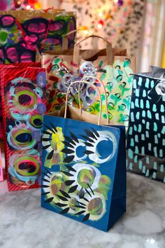Painted Gift Bags - Aunt Peaches
