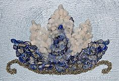 lotus-flower-made-crystals-handmade-frame-blue-painted-background