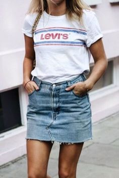 We love a cute denim skirt, and this is one of our favorite denim skirt outfits! #denimskirtoutfit #denimskirtoutfitsummer #denimskirtoutfitspring #jeanskirtout #skirtoutfit