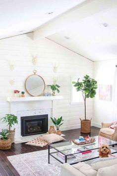 Boho Glam Spring Living Room. Spring Decorating. Home Tour. Boho Home. Modern Boho. Bright White Interiors. Indoor Plants. Baskets. Shiplap