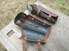 splints riveted to leather vambrace. Articulated on leathers.