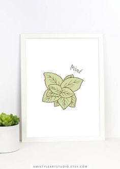 Herbs Wall Art - Mint - printable kitchen decor with hand drawn botanical mint by Amistyle Art Studio on Etsy Kitchen Prints, Kitchen Wall Art, Kitchen Decor, Herb Wall, Dining Room Art, Handmade Shop, Handmade Items, Botanical Art, Printable Wall Art