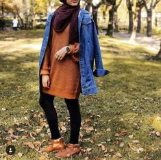 Oversized jean jacket-Casual brownish outfits with hijab – Just Trendy Girls
