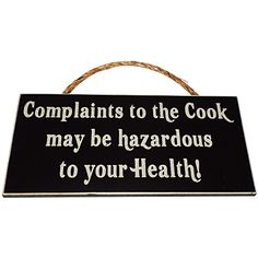Complaints to the Cook may be hazardous to your Health Wood Sign for Home Dcor and Kitchen Wall Dcor  PERFECT FUNNY CHEF HOUSEWARMING GIFT >>> This is an Amazon Affiliate link. You can find more details by visiting the image link. Wood Signs For Home, Home Signs, Decorative Signs, Decorative Accessories, House Warming, Christmas Decorations, Wall Decor, Health, Funny
