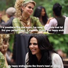 OUAT Season 3 Episode 3. Regina's happy ending looks like Snow's head on a plate.