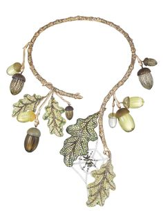 Chopard Oak Tree necklace, a diamond and sapphire spider hiding within, the leaves are tsavorite and most of the rest of the colour accents comes from fancy coloured diamonds