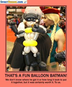 This Batman balloon is invincible. As long as some Joker isn't armed with a pin.