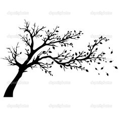 Items similar to Wall Stickers Vinyl Decal Tree Branch Wind Fall Leafs Floral Decor on Etsy Tree Silhouette, Silhouette Vector, Vector Trees, Vector Art, Tree Stencil, Stencils, Tree Outline, Bild Tattoos, Ecole Art