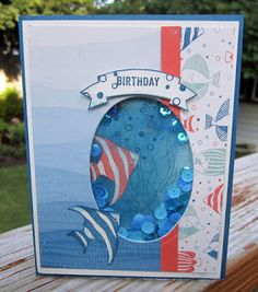 Crafty Maria's Stamping World: Seaside Shore Shaker Birthday - Paper Craft Crew Challenge # 204
