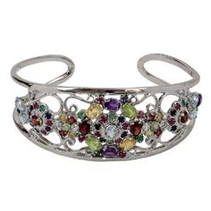 Cuff Bracelet Colourful Gemstone Jewelry Sterling Silver