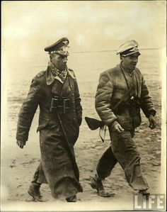 Field Marshal Erwin Rommel and a Luftwaffe officer.