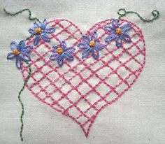 Hearts n Flowers. Hand Embroidery Pattern by PDF