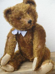 "VERY RARE ANTIQUE BING TEDDY BEAR BROWN HUNCHBACK BEAR MOHAIR 1910-1920 20.9"""