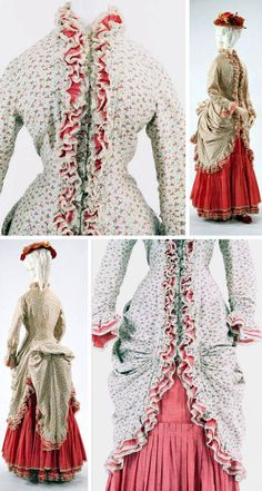 """Day dress, British, ca. 1872. This is an example of a """"Dolly Varden dress,"""" named after a character in Dickens's Barnaby Rudge. The style signifies a brightly patterned, usually flowered, dress with a polonaise overskirt gathered up and draped over a separate underskirt. Bunka Gakuen Costume Museum"""