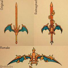 Pokeapon No. 006 - Charizard comparison; original, remake and reimagined.