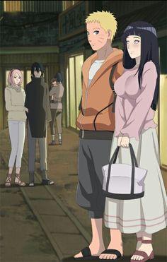 Naruto and Hinata. Sakura and Sasuke