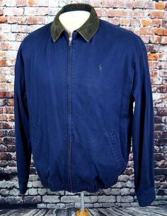 Polo Ralph Lauren Men's Harrington Jacket Coat Full Zip Cotton Navy Sz. M Medium #PoloRalphLauren #BasicJacket
