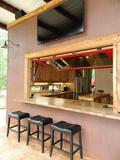 Kitchen pass through bar patio rustic with hydraulic window - Infosofa.com