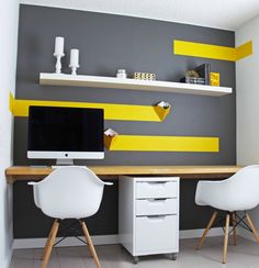 You won't mind getting work done with a home office like one of these. See these 18 inspiring photos for the best decorating and design ideas for your home office. Cores Home Office, Ikea Home Office, Home Office Colors, Home Office Design, House Design, Office Designs, Yellow Home Offices, Yellow Office, Bureau Design