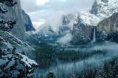 The view of Yosemite Valley from Inspiration Point after a rare Spring snow storm. (Monica Cummings )
