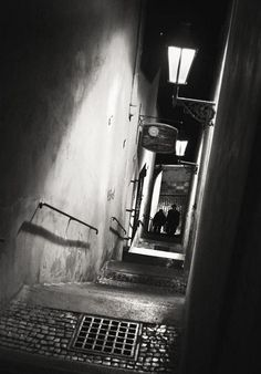 "Brian Callaway - ""Prague Alley""... A couple walking in the middle of the night somewhere near Prague Castle."