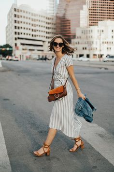 Striped Midi Wrap-Dress - LivvyLand | Austin Fashion and Style Blogger