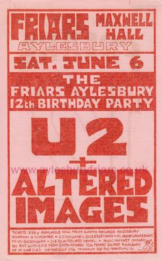 Aylesbury Friars - U2 I was there