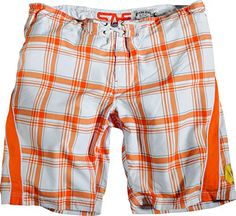 Replika Big Mens Plaid Microfiber Swim Trunk (Orange L) * Find out more by clicking the image