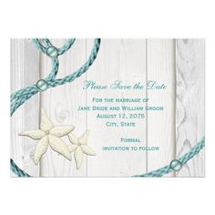 Teal Blue Starfish Save the Date Personalized Announcements #wedding favors, #bridal shower favors, #party favors, #personalized favors, #decorations, #bridesmaids gifts, #bridal party gifts, #wedding supplies, #timelesstreasure