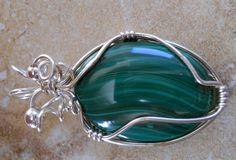 Malachite & Sterling silver pendant by RaptFyre on Etsy