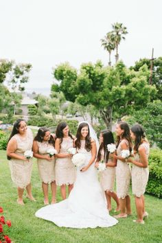 cream lace bridesmaids look captured by Aga Jones Photography http://www.weddingchicks.com/2014/04/10/beach-theme-diy-wedding-aga-jones-photography/
