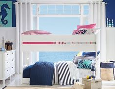 I love the Pottery Barn Kids Shared Preppy Surf Bedroom on potterybarnkids.com For boy girl twins