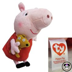 Ty Peppa Pig with Teddy Bear Retired 2014 Plush Beanie Baby Toy Pink NO TAG   ty  peppapig  beaniebaby  plush eac789655248
