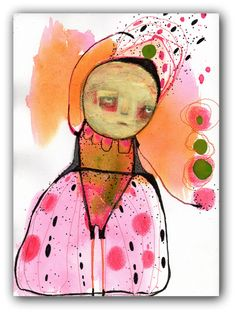 """ORIGINAL Collage Painting with Embroidery, Abstract Portrait,  Acrylic, Watercolor- Illustration Art  by Christina Romeo......""""Allusive"""" by ChristinaRomeo on Etsy"""