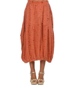 Another great find on #zulily! Orange Distressed Midi Skirt #zulilyfinds