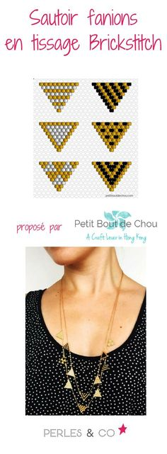 Pennant long necklace in brick stitch weaving with Miyuki beads from Petit bout de chou - Trend Beaded Jewelry 2020 Bead Loom Patterns, Jewelry Patterns, Bracelet Patterns, Beading Patterns, Seed Bead Jewelry, Bead Jewellery, Beaded Jewelry, Beaded Bead, Seed Bead Tutorials