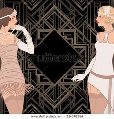Flapper girl retro party invitation design vector illustration vector illustration with two standing vintage style girls invitation template buy this stock vector on shutterstock find other images stopboris Image collections