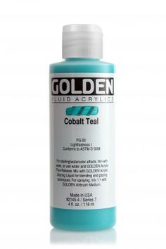 Find the Golden® Fluid Acrylics, at Michaels. This highly intense permanent acrylic paint by Golden Fluid has a consistency similar to heavy cream. Watercolor Effects, Fluid Acrylics, Cerulean, Bruges, Acrylic Colors, Airbrush, Teal, Bottle, Consistency