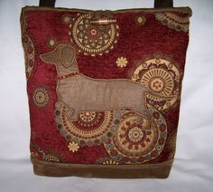 Red Dachshund-Wiener Dog Handbag-Purse-Bag with Beaded Collar via Etsy.